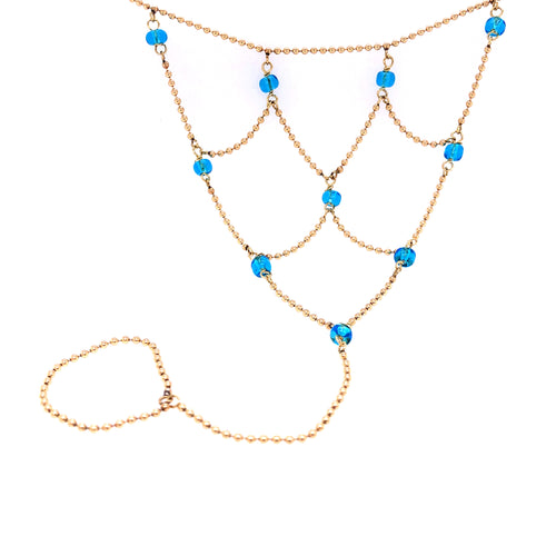 14K Yellow Gold Women's Anklet with Blue Stones 10 Inches