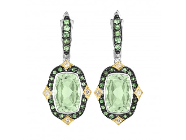 18K Gold and Silver Green Amethyst, Tsavorite and Diamonds Earring