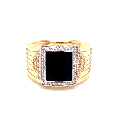 14K Two Tone Men's Ring with Onyx and Cubic Zirconias Size 11