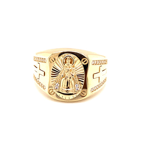 14K Yellow Gold Man Ring with Charity Copper with Cubic Zirconia Size 11