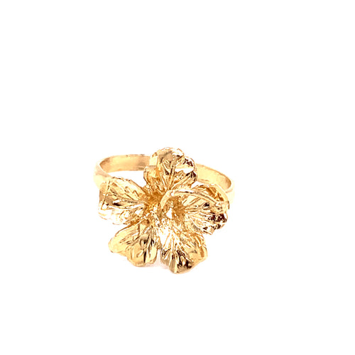 14K Yellow Gold Hibiscus Flower Ring Size 6