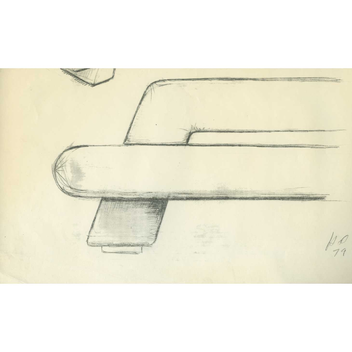 Harvey Probber's sketch for Mayan sofa, signed and dated 1979
