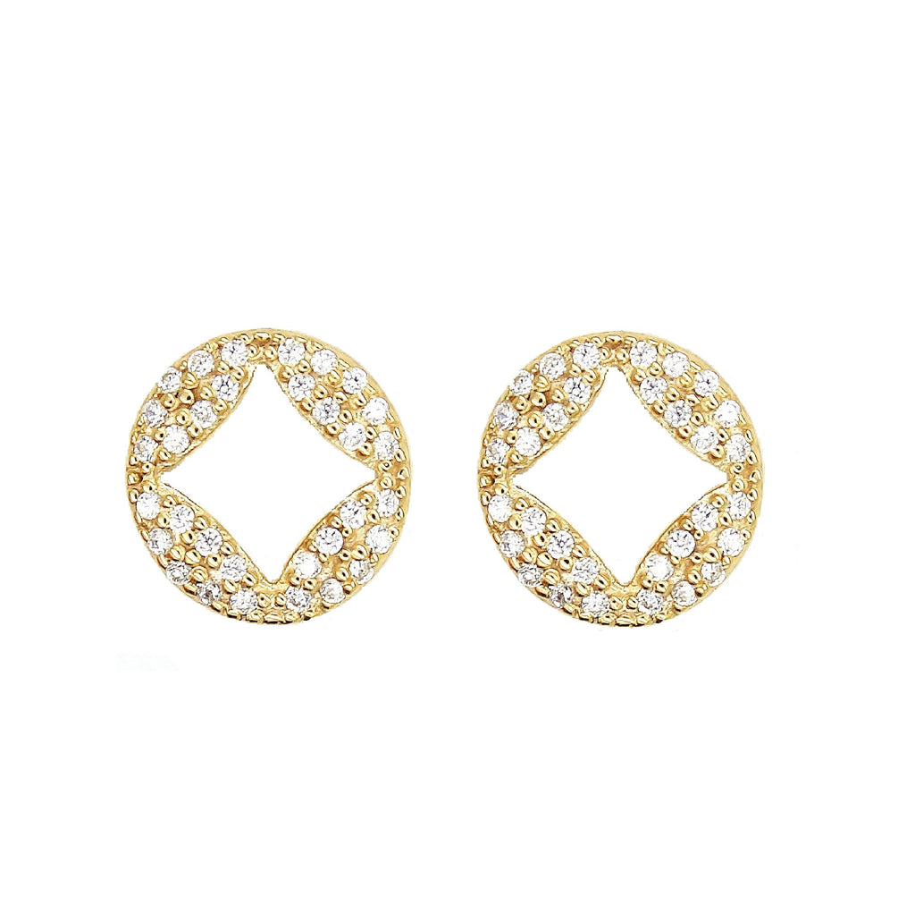 Gold Pave Disc Diamond Stud Earrings