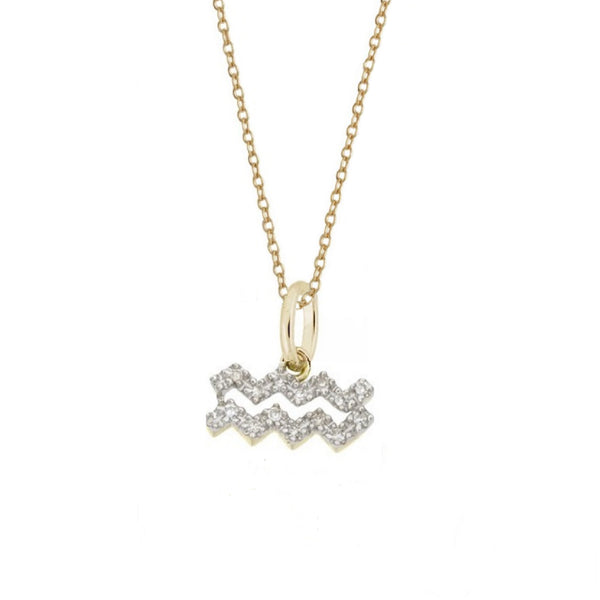 Rachael Ryen Aquarius Diamond Charm Necklace in Gold