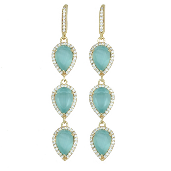 Aqua Blue Pave Teardrop Earrings