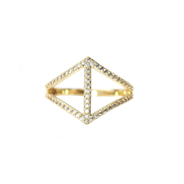 Rachael Ryen Chevron Pave Ring Gold