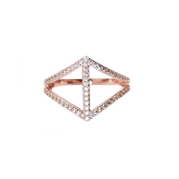 Rachael Ryen Rose Gold Chevron Bar Ring