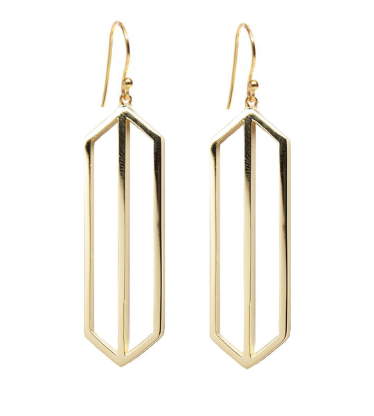 Rachael Ryen Gold Art Deco Drop Earring