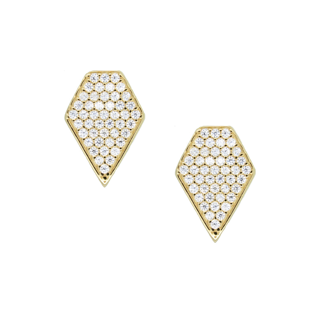 Gold diamond pave stud earrings with stones