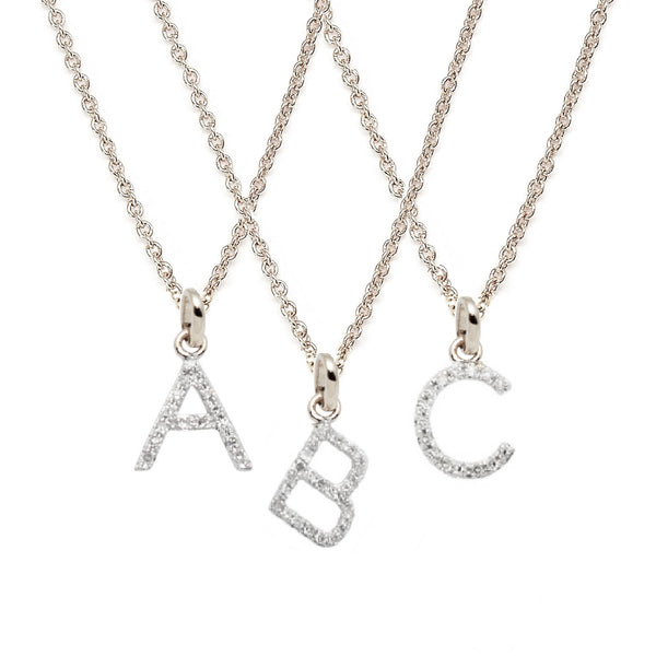 White Gold Petite Diamond Letter Necklace - All letters available