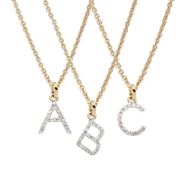 Rachael Ryen Gold Petite Diamond Letter Necklace