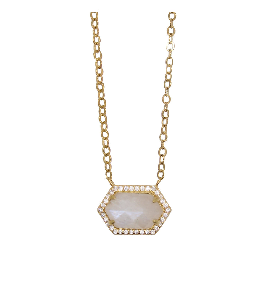 moonstone hexagon necklace
