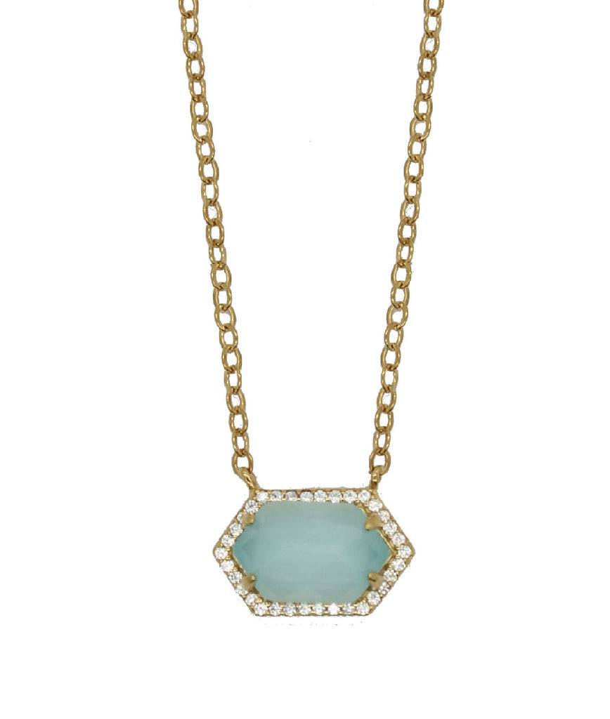 Hexagon Pave Necklace - Aqua