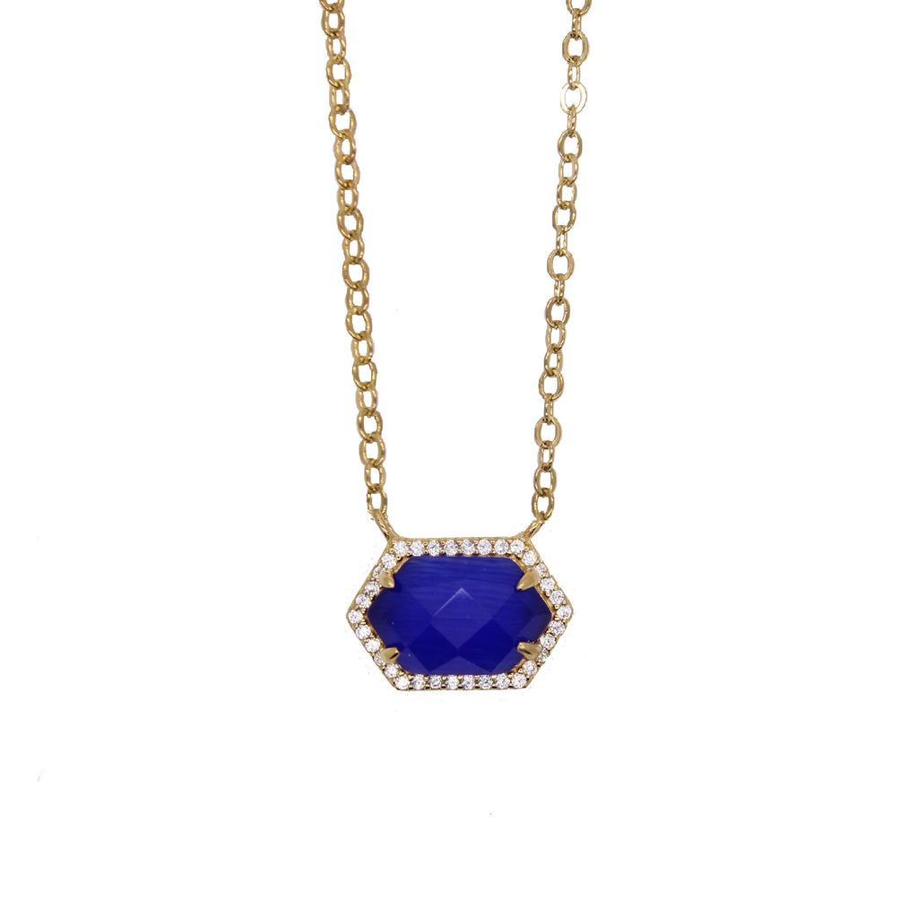 Hexagon Pave Necklace - Sapphire Cats Eye