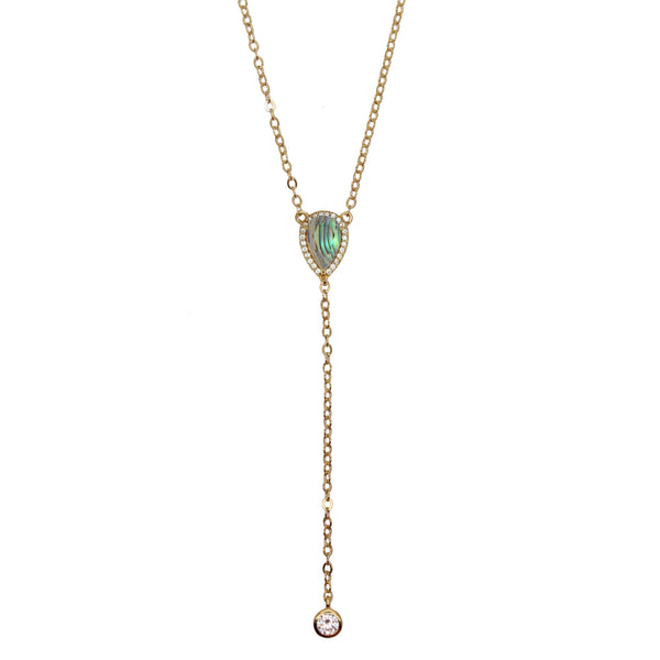 Tear Lariat Necklace Abalone