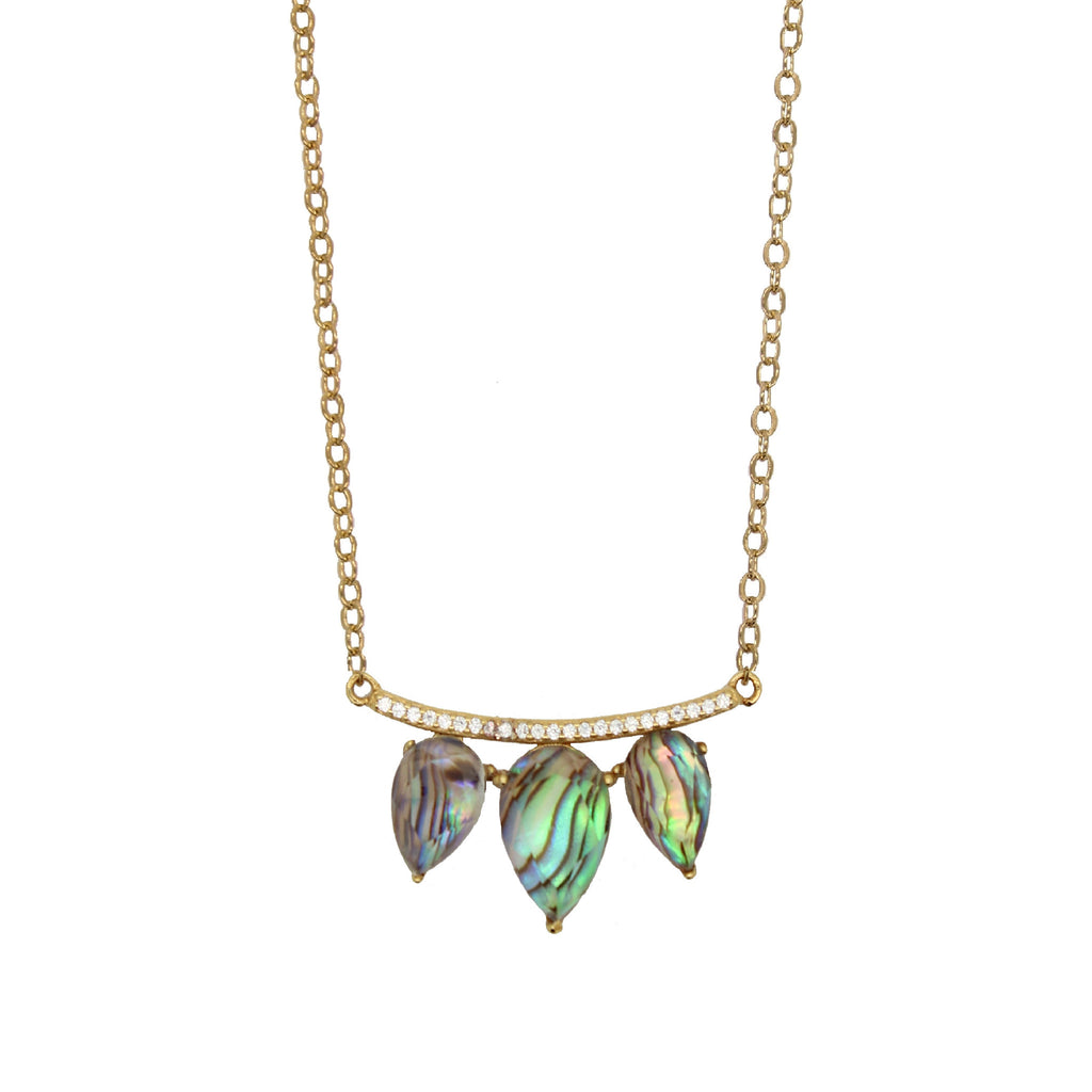 blue abalone shell necklace teardrop pave bar gold