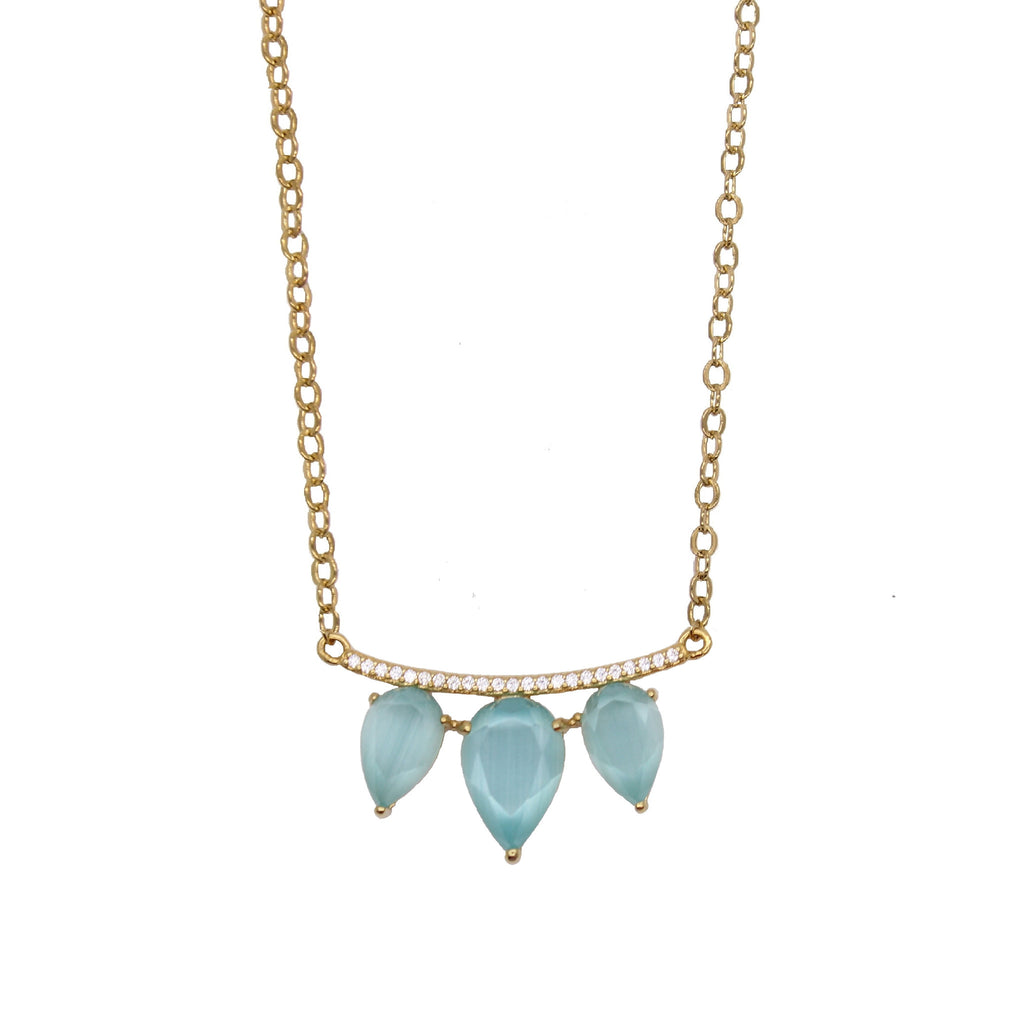 Teardrop necklace in aqua blue stone