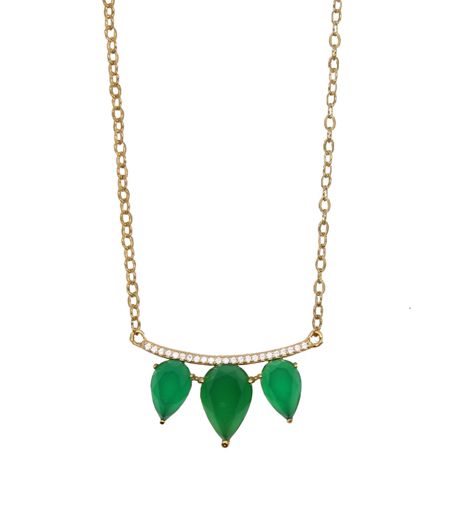 emerald green onyx necklace teardrop pave bar gold