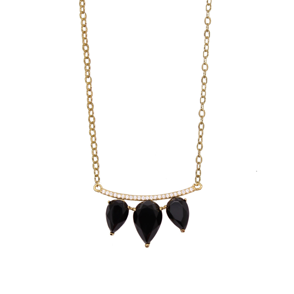 black and gold onyx teardrop pave bar necklace