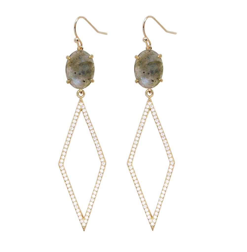 Labradorite Diamond Drop Earrings for Women