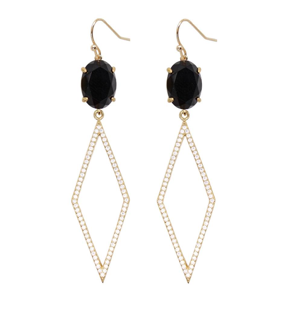 Black Onyx Diamond Drop Earrings for Women