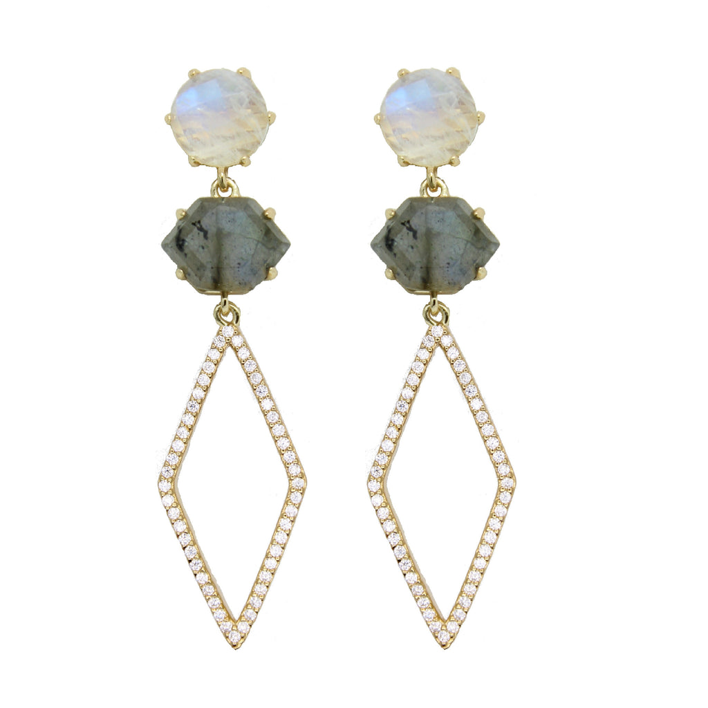 Diamond shape earrings with labradorite and moonstone