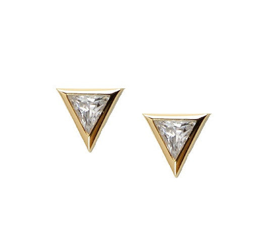 Gold triangle stud earrings with clear stones