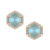 Aqua Hexagon studs with diamonds