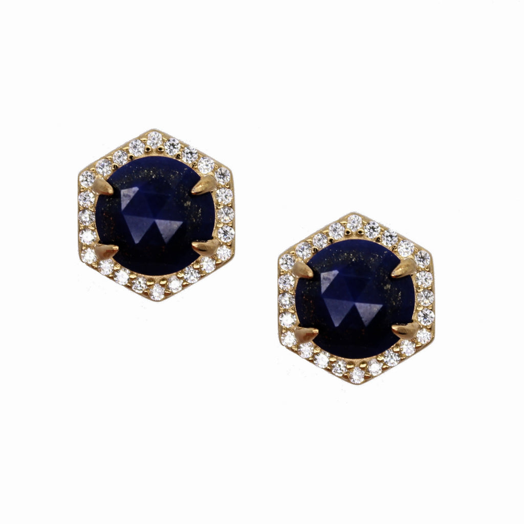 Hexagon Pave Studs - Black Onyx