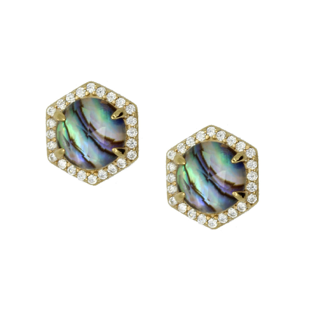 Hexagon Shaped Stud Earrings with white zircon and abalone shell