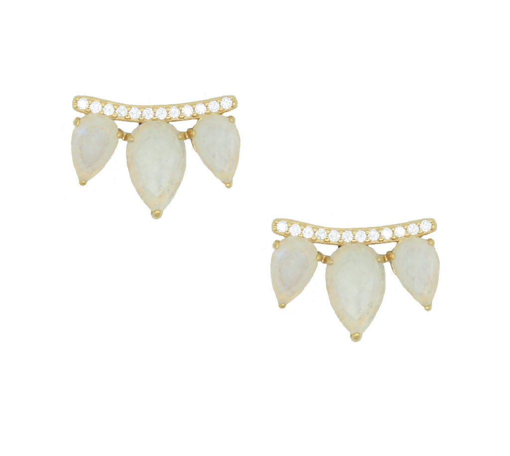 Moonstone gemstone gold wing ear pins studs for women