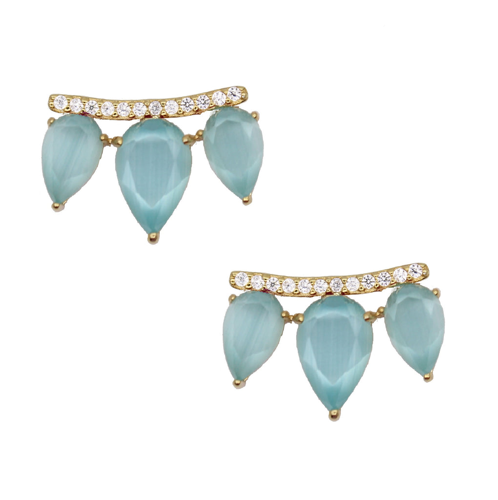 Aqua blue gemstone - cats eye studs