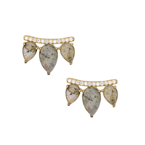 Labradorite Gemstone wing ear pins studs for women