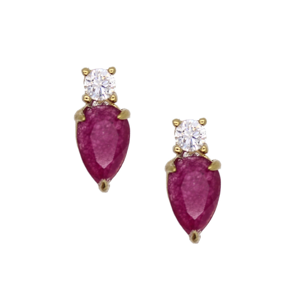 Purple Magenta Tourmaline Jade Diamond Earrings