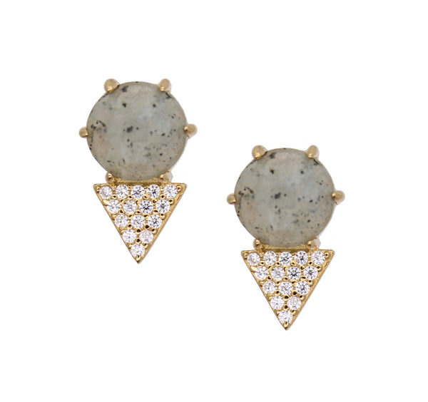 Triangle shaped pave with labradorite gemstone earrings