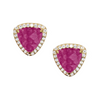 Trillion Stud Earrings purple tourmaline pink - triangle shaped studs with cubic zirconias