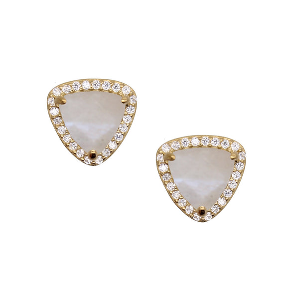 triangle shaped stud earrings with cubic zirconia