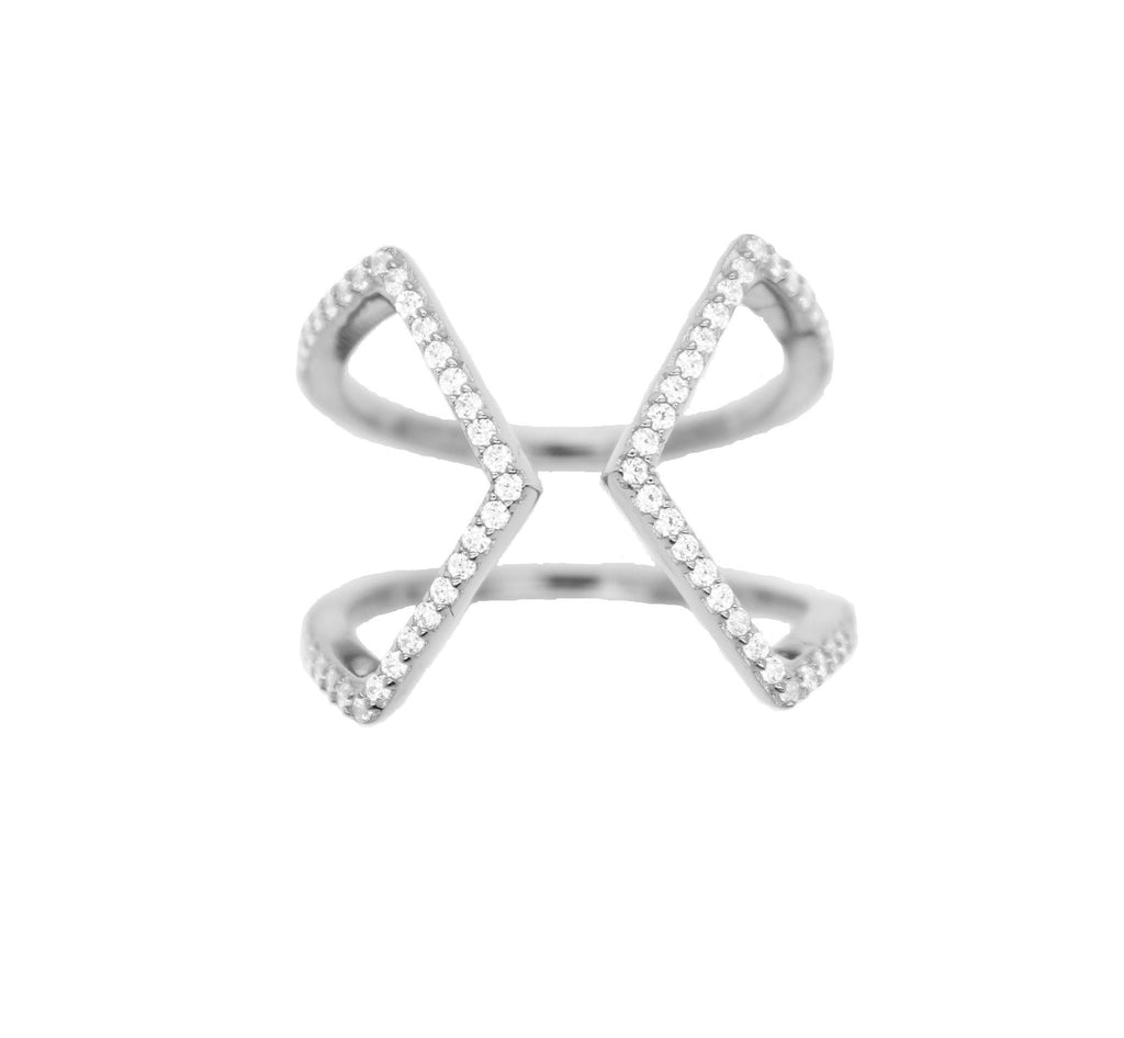Open Cross Pave Ring - Silver