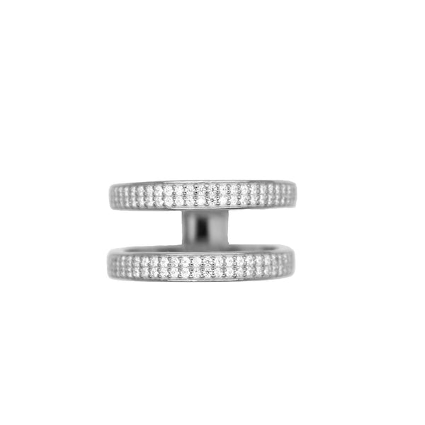 2 layer silver pave ring for women