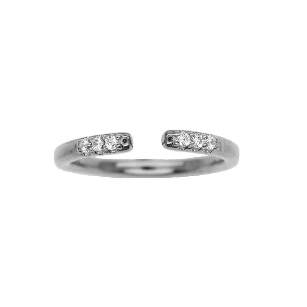 Sterling Silver CZ Stacking ring adjustable