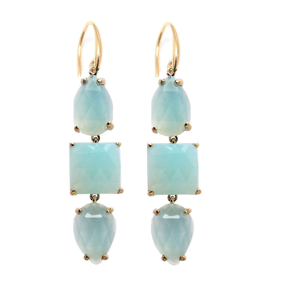 Triple Drop Gemstone Earring - Aqua Chalcedony