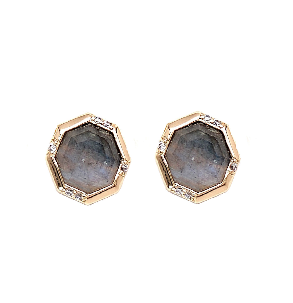 Rachael Ryen Labradorite Pave Stud Earrings