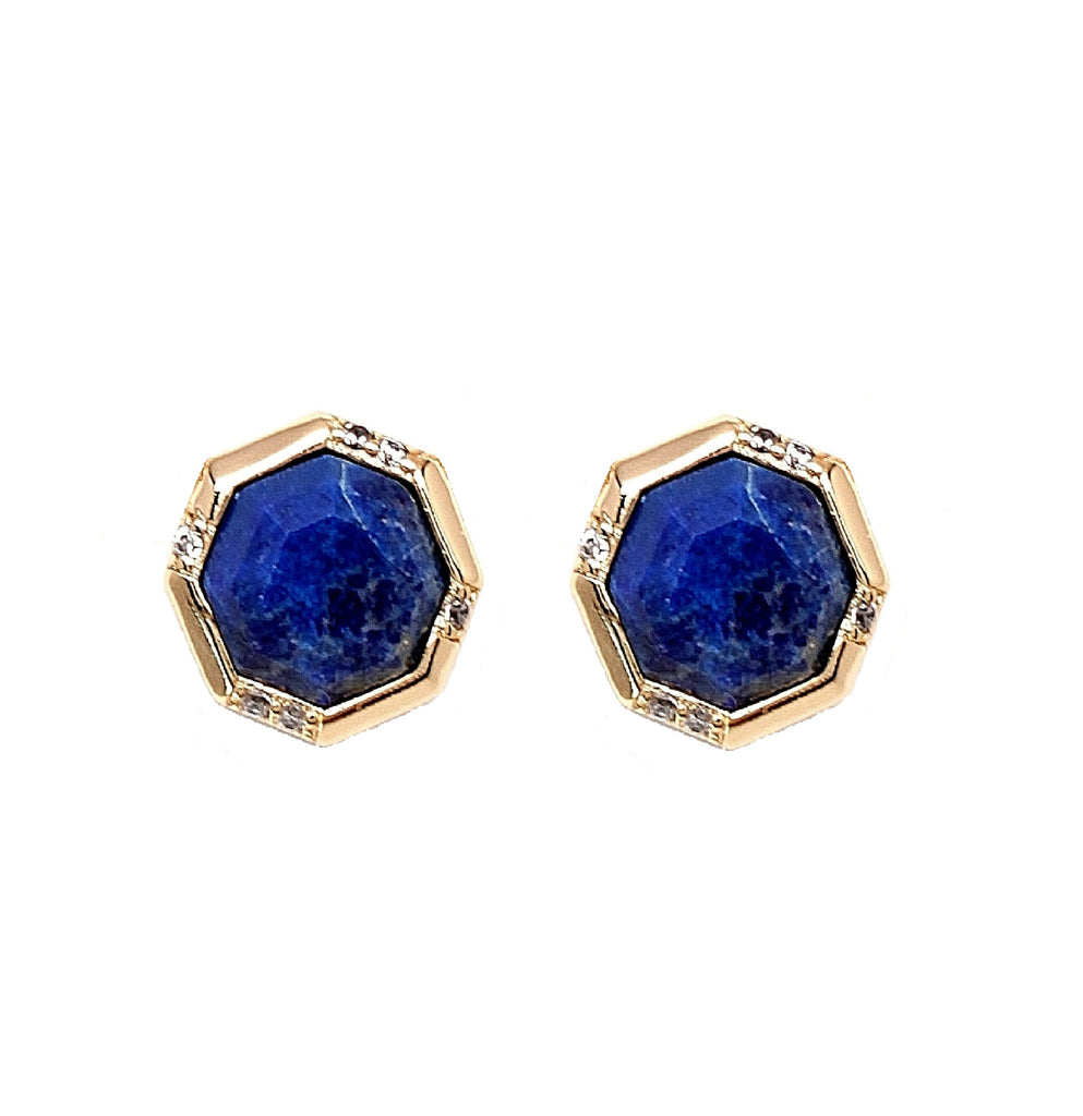Rachael Ryen Lapis Octagon Pave Stud Earrings