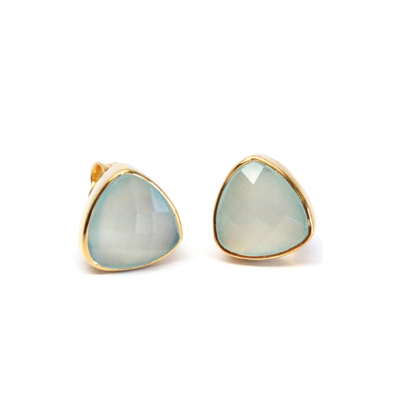 Aqua Chalcedony Triangle Stud Earrings