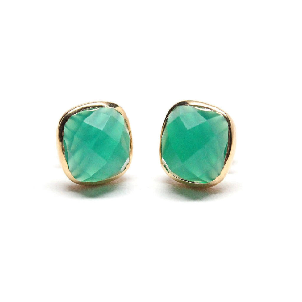 Green Onyx Cushion Cut Stud Earrings