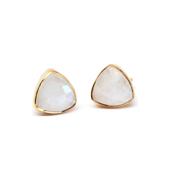 White Moonstone triangle stud earrings