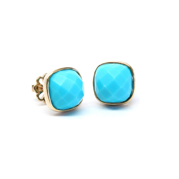 Turquoise Cushion Cut Gold Framed Stud Earrings