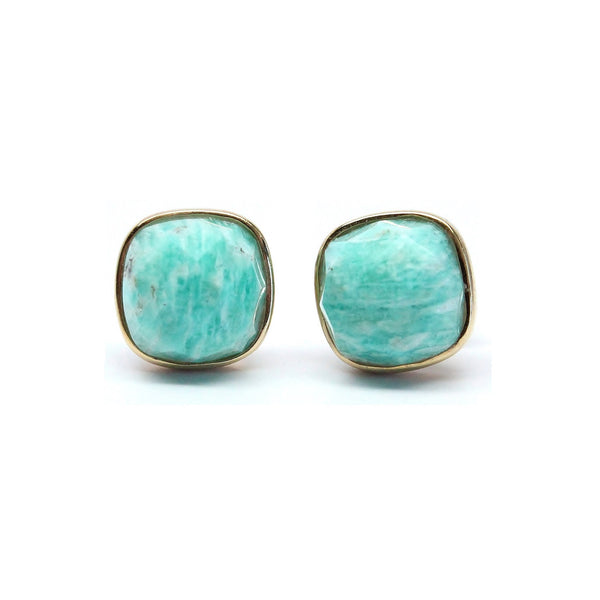 Amazonite Cushion Cut Stud Earrings