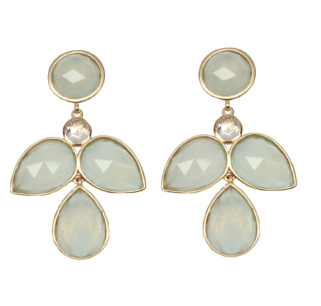 Aqua Chalcedony Flower Drop Earrings