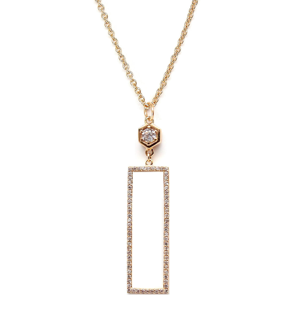 Long Rectangle Pave Gold Necklace